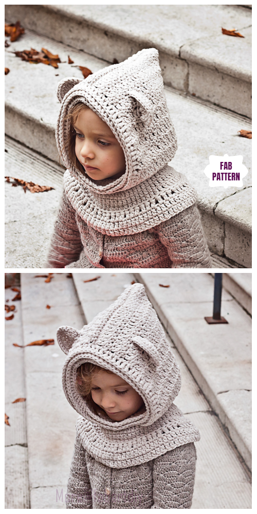 Crochet Polar Bear Hooded Cowl Crochet Pattern