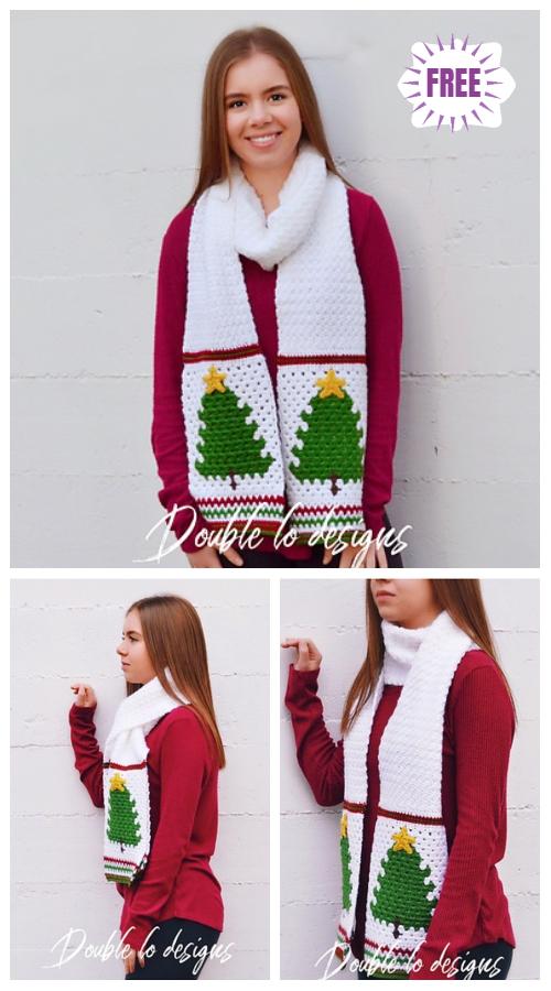 CrochetRetroChristmas Tree Scarf Free Crochet Pattern