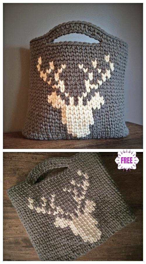 Crochet Chunky Deer Tote BagFree Crochet Pattern