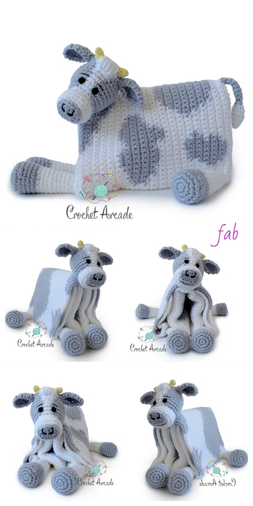 Crochet Cuddle and Play Cow Baby Blanket Crochet Pattern