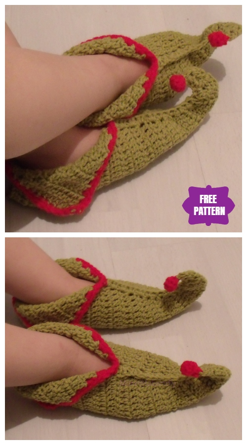Crochet Elf Slippers with Curled Toes Free Crochet Patterns