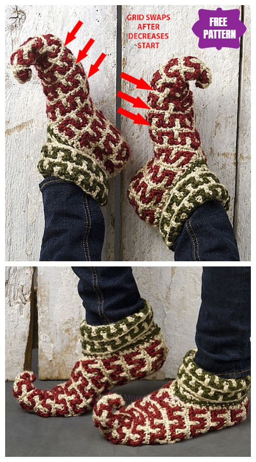 Crochet Adult Christmas Elf Slippers Free Crochet Pattern
