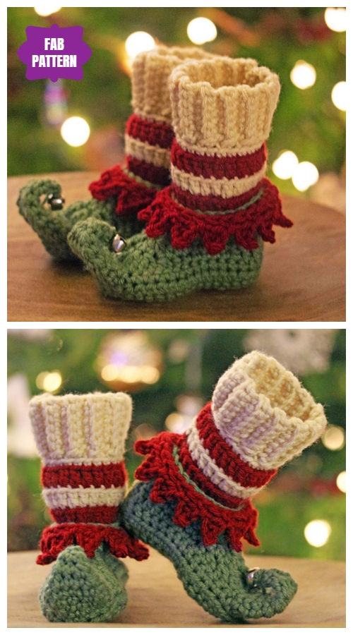 Crochet Just Elfin' Around Elf Slippers Crochet Pattern