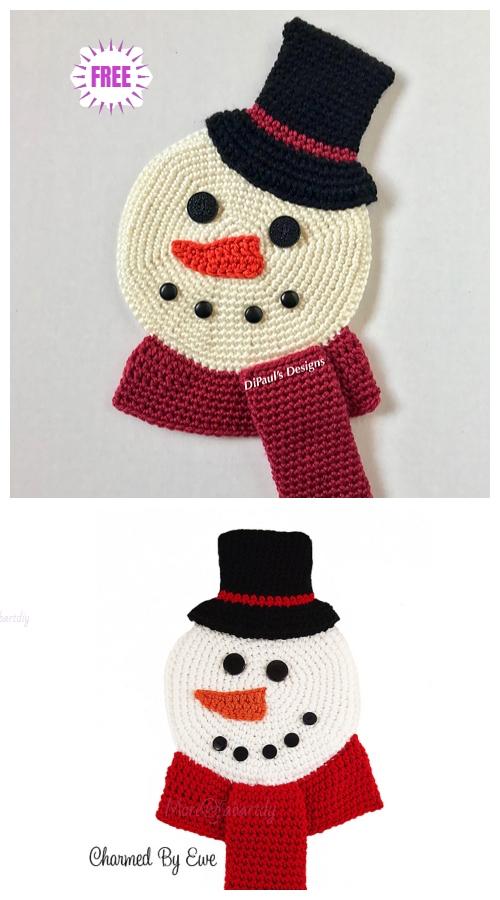 Crochet FlatSnowmanWall HangingFree Crochet Pattern