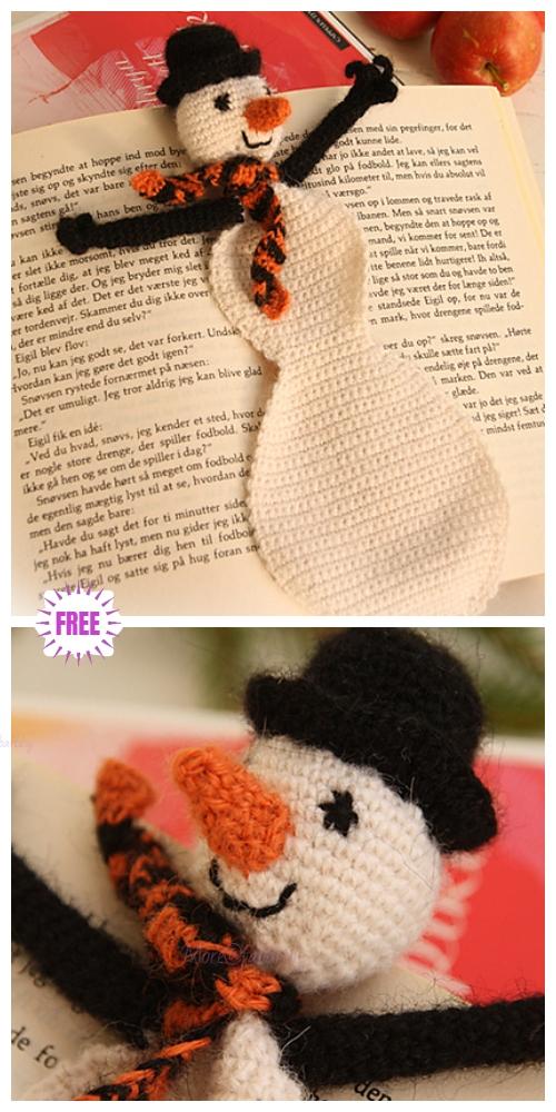 CrochetSnowman bookmark for ChristmasFree Crochet Pattern