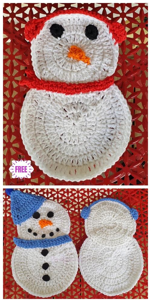 Crochet FlatSnowman Dishcloth Free Crochet Patterns