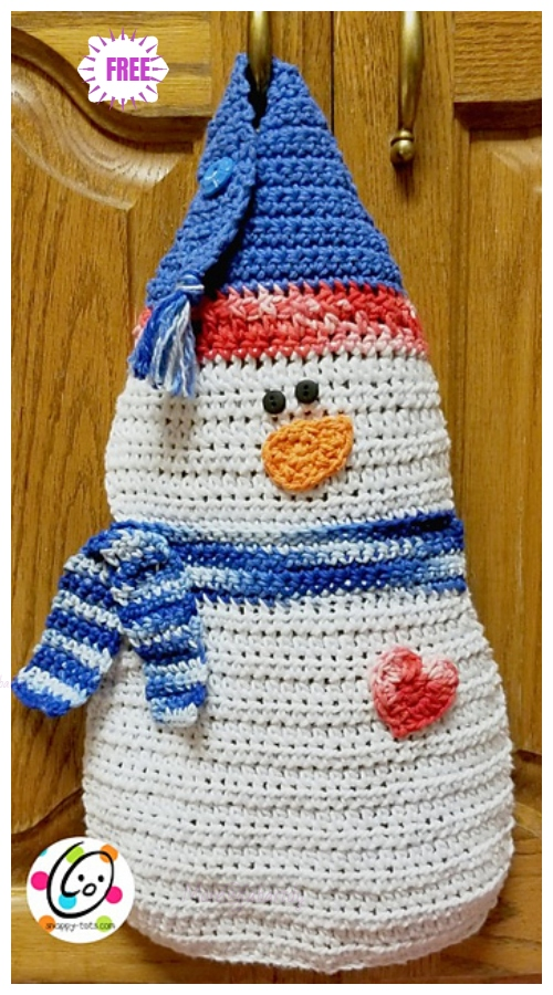 CrochetSnowman Hanging DishclothFree Crochet Pattern