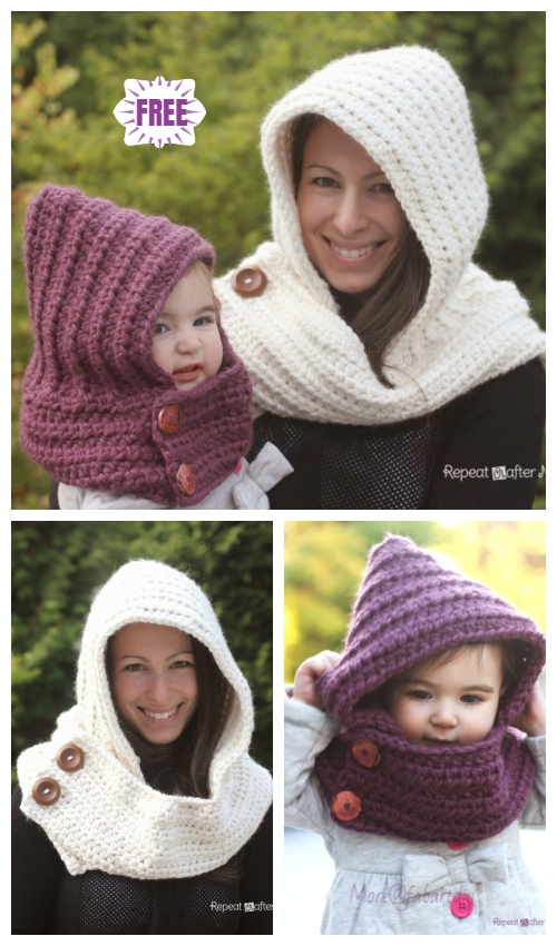 Crochet Hooded Cowl Scarfie Free Crochet Pattern