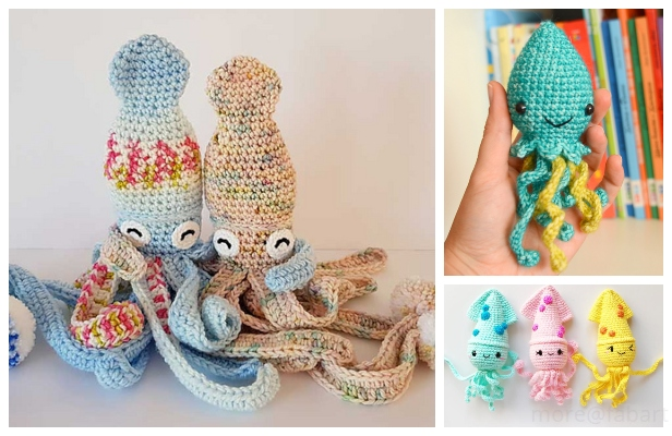 Crochet Hubble the Squid Amigurumi Free Pattern and Paid