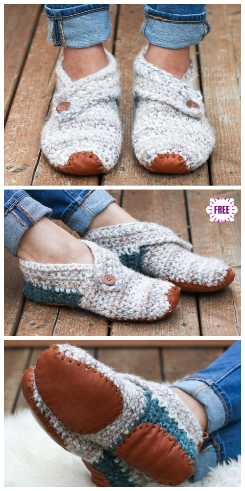 Crochet Lovers Outdoor Slippers Free Crochet Patterns - Sunday Slippers by Jess Coppom