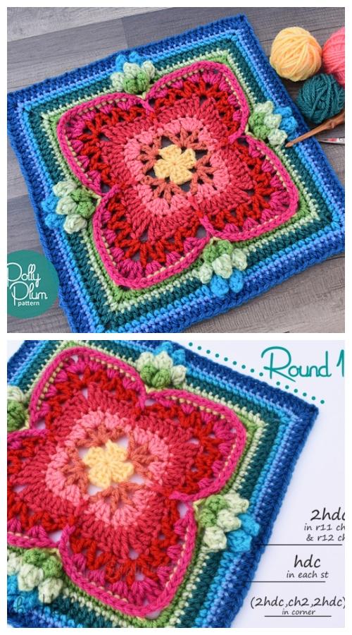 Crochet Maybellene Square Free Crochet Pattern