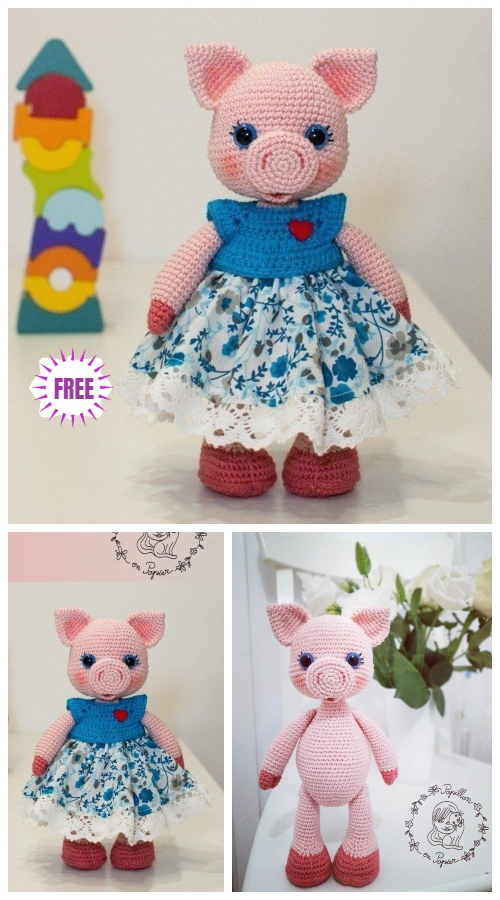 Crochet Miss Pig Doll Toy Amigurumi Free Pattern