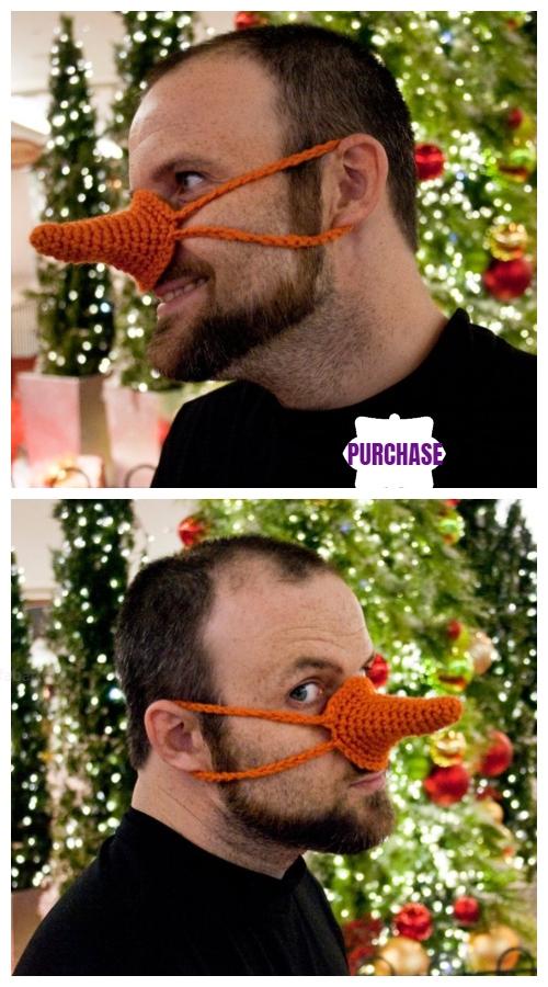 Crochet Snowman Orange Carrot Nose Warmer