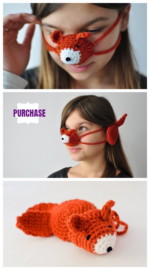 Crochet fox nose warmer and ear warmers,