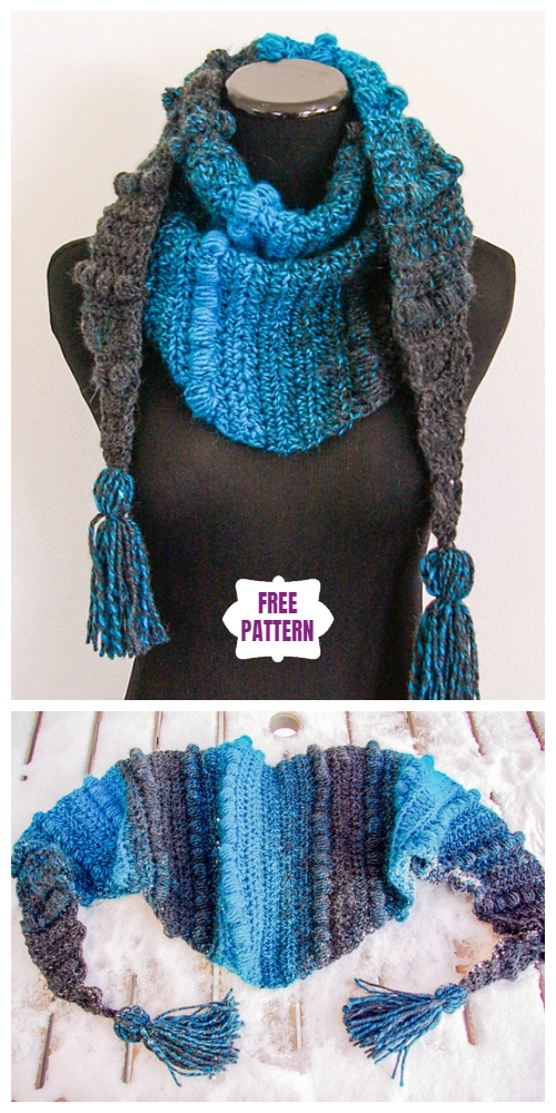 Crochet Puff Stitch Mod Scarf Free Crochet Pattern