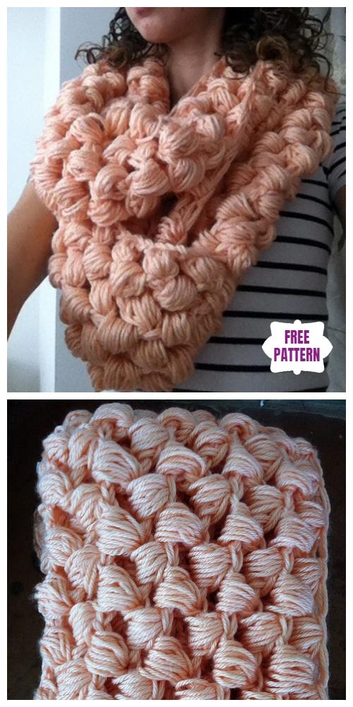 Crochet Yummy Puff Stitch Scarf Free Crochet Pattern