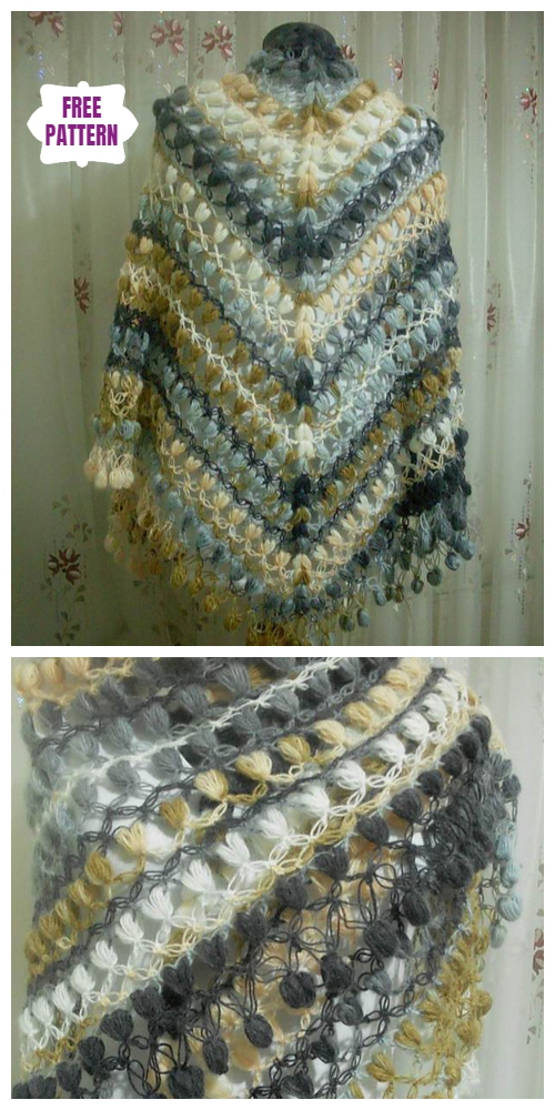 Crochet Puff Stitch Shawl Free Crochet Patterns