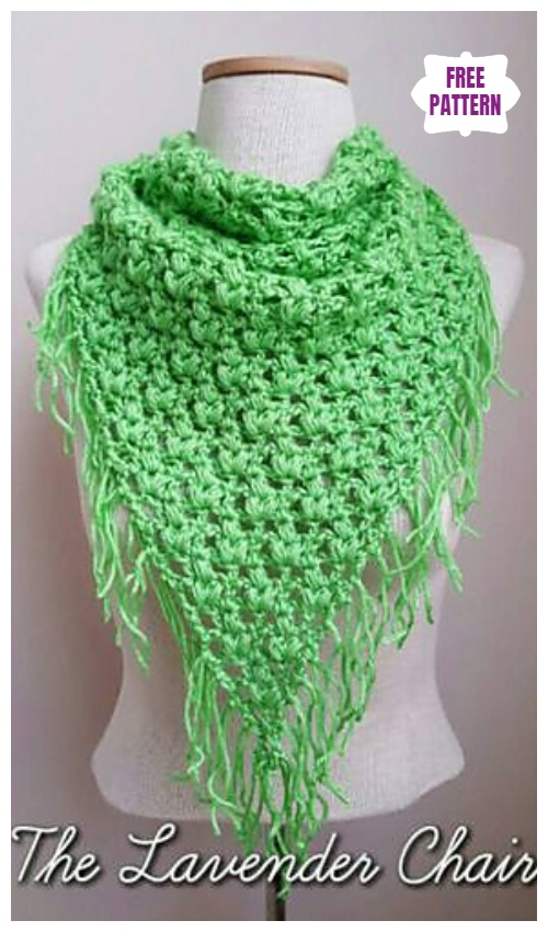 CrochetClover Puff Triangle ScarfShawl Free Crochet Pattern