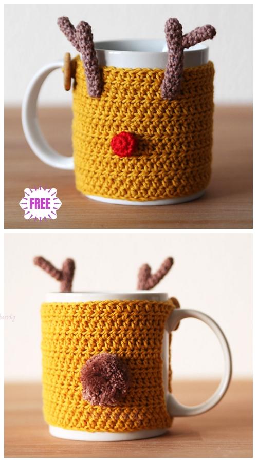 CrochetReindeer Mug Cozy Free Crochet Pattern