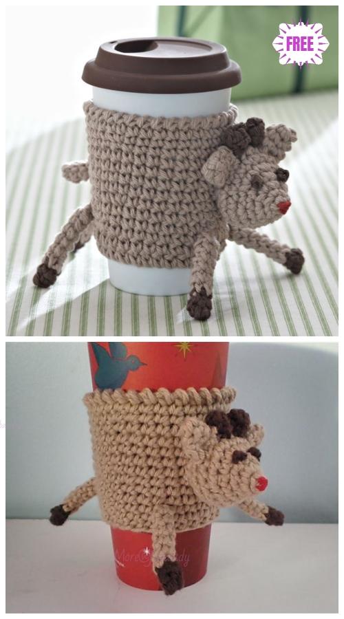 CrochetReindeer Cup Cozy Free Crochet Pattern