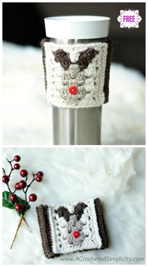 CrochetReindeer Coffee Sleeve Free Crochet Pattern