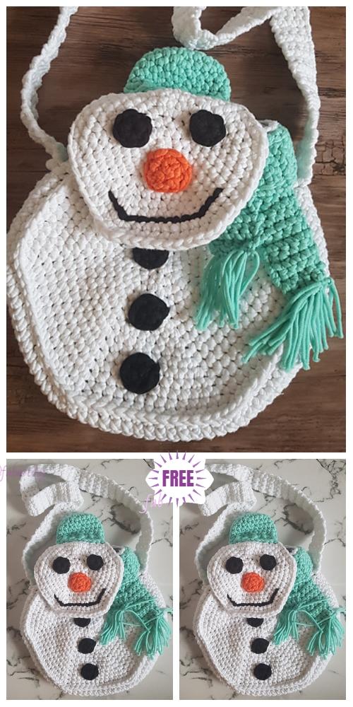 Crochet Snowman Bag Free Crochet Pattern