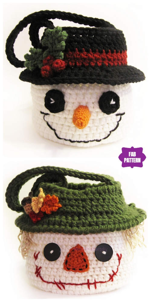 Crochet Snowman Basket Free Crochet Pattern & Paid