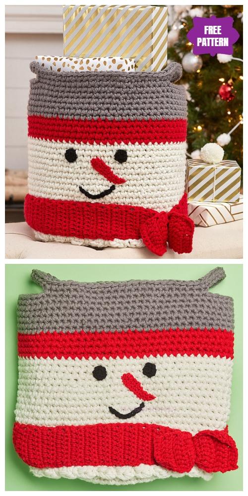 Crochet Snowman Basket Free Crochet Pattern