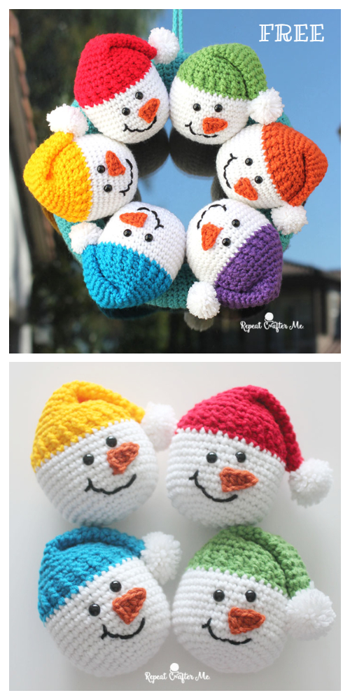 Crochet Snowman Heads Amigurumi Free Pattern + Video