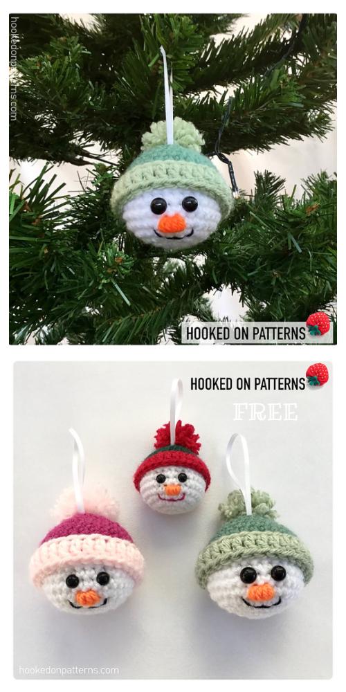 Crochet Snowman Heads Ornament Amigurumi Free Pattern