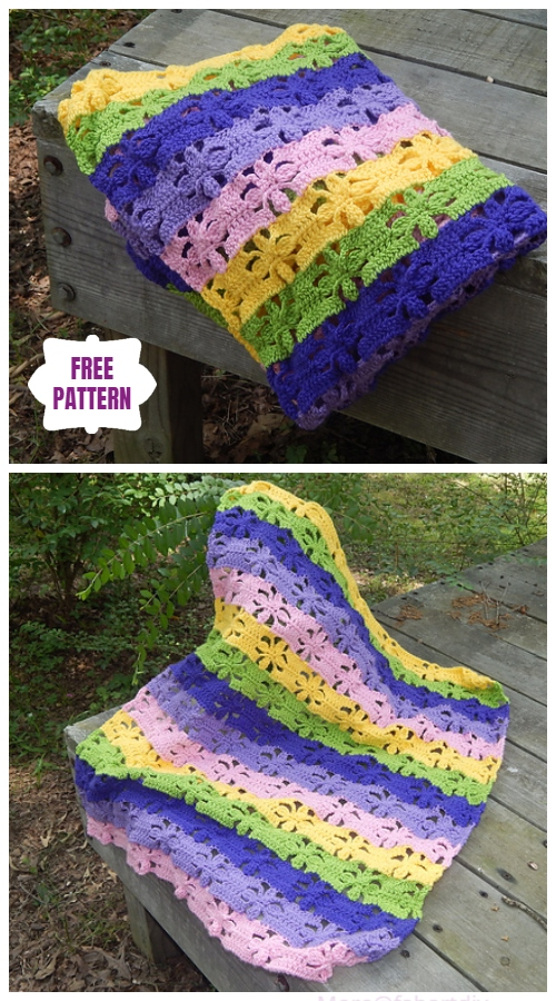 Crochet Spring Flower Blanket Free Crochet Pattern