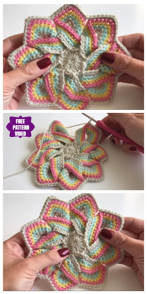 Crochet Swirl Flower Potholder Free Crochet Patterns - Video