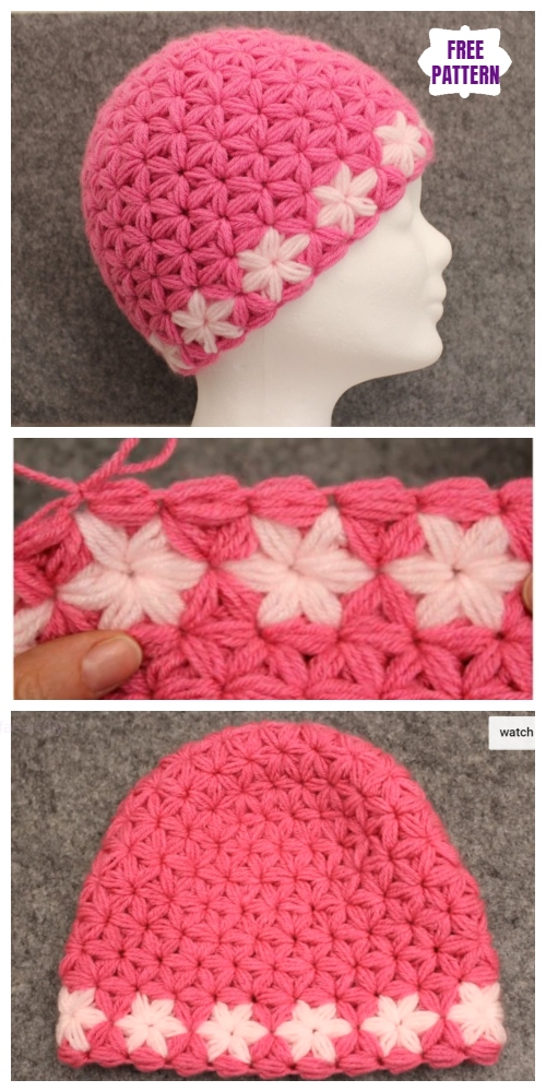 Crochet Triangle Star Stitch Beanie Hat Free Crochet Pattern