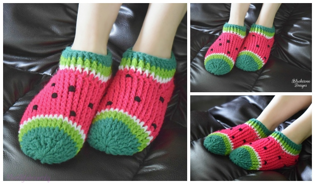 b43789387ab Crochet Watermelon Chunky Slippers Free Crochet Patterns – Kids   Adults
