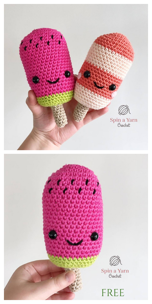 Crochet Watermelon Pop Doll Toy Amigurumi Free Pattern
