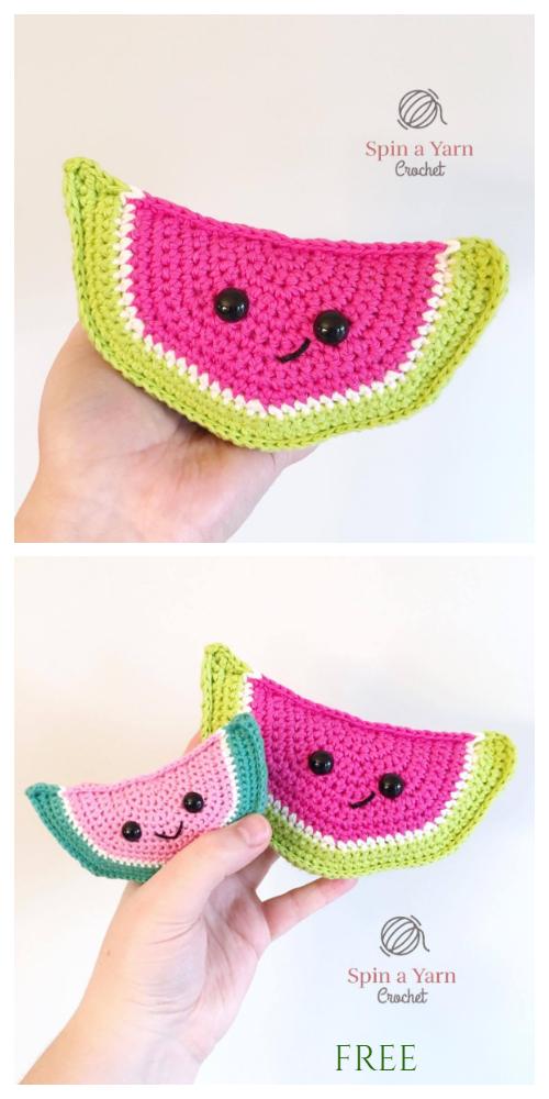 Crochet Watermelon Wedge Amigurumi Free Pattern