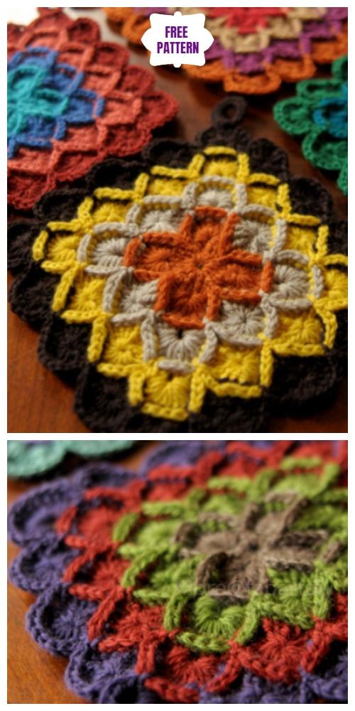 Crochet Wool Eater Potholder Free Crochet Pattern