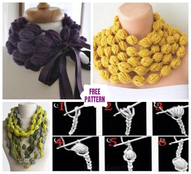 DIY Crochet Bubble Puff Stitch Scarf Necklace – Video