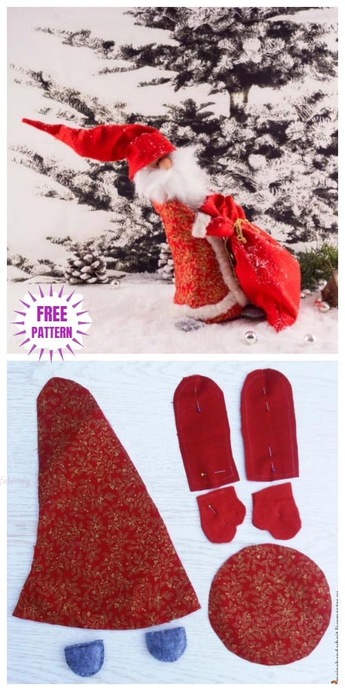 Christmas Craft: DIY Santa Clause Fabric Toy Sew Pattern & Tutorial