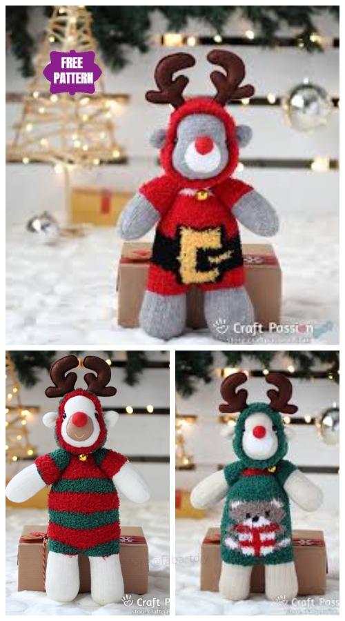 DIY Sock Reindeer Free Sew Pattern & Tutorial