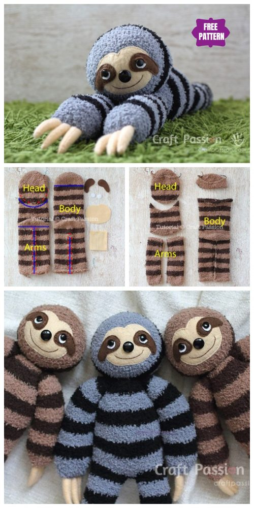 DIY Sock Sloth Free Sew Pattern & Tutorial