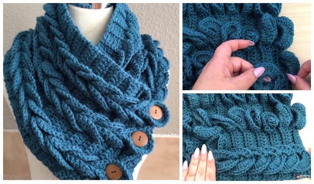 Easy Crochet Braid Scarf Cowl Free Crochet Pattern Video
