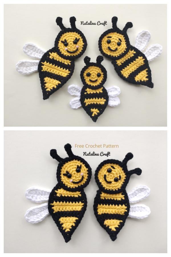 Crochet Honeycomb Bee Applique Free Crochet Pattern