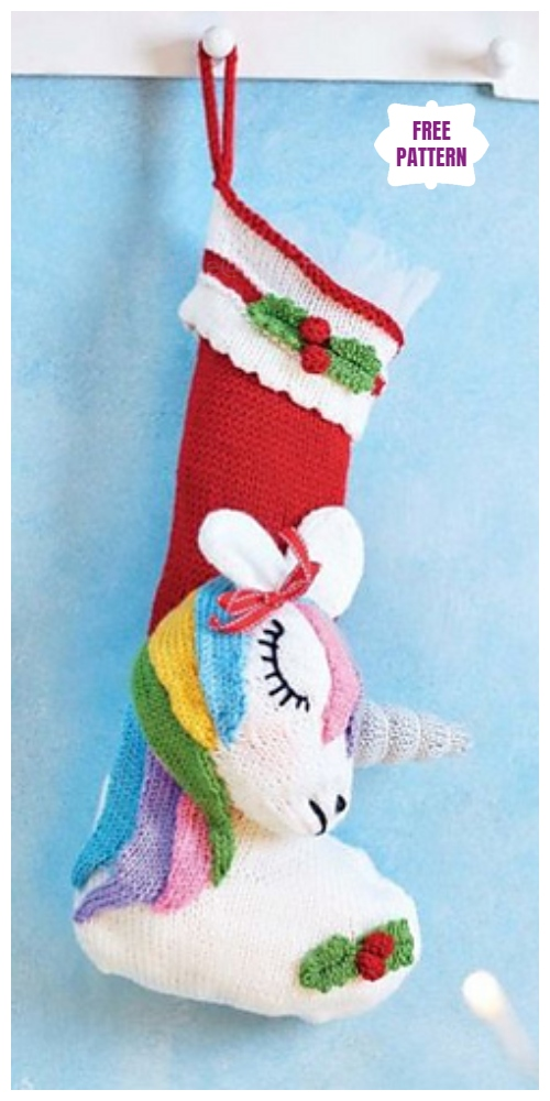 Knit Unicorn Stocking Free Knitting Pattern
