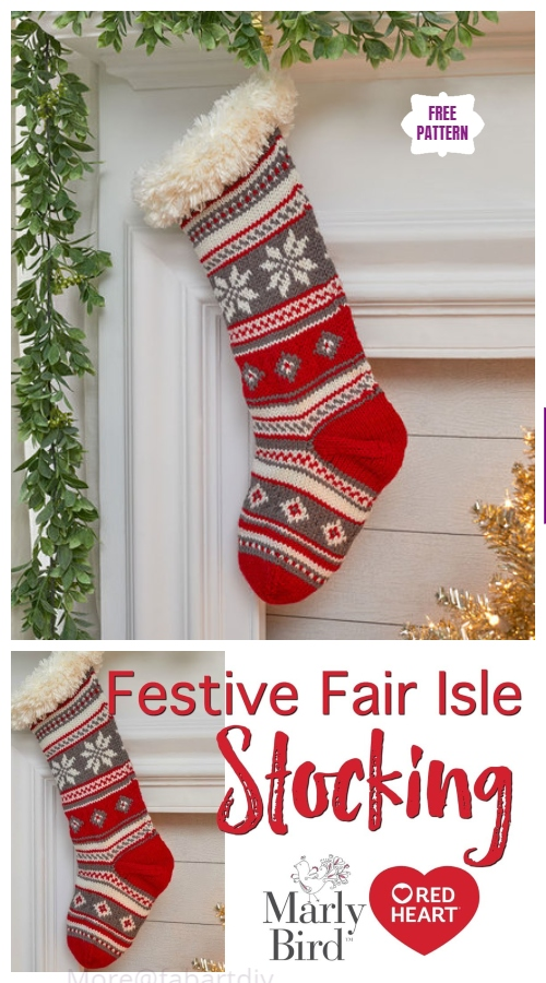 Knit Festive Fair Isle Stocking Free Knitting Pattern - Video