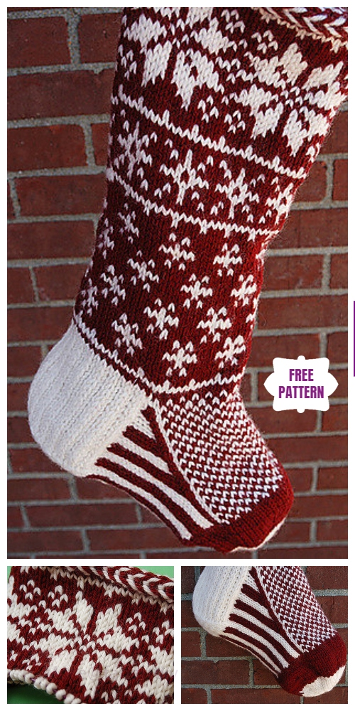Knit Falling Snow Stocking Free Knitting Pattern