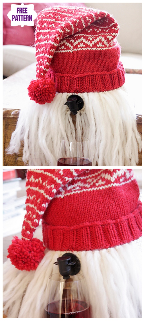 KnitMerrier Christmas Christmas Lace Wine Cozy Free Knitting Pattern