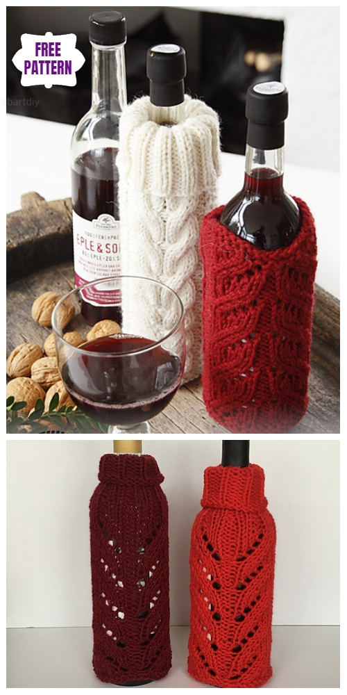 Knit Pour on the Charm Christmas Santa Wine Cozy Free Knitting Pattern