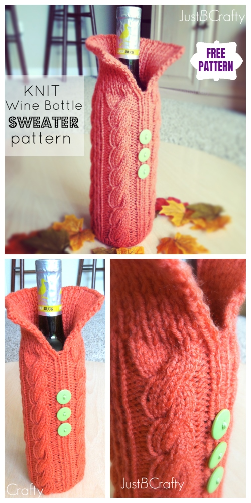 Knit Cable Wine Cozy Sweater Free Knitting Pattern