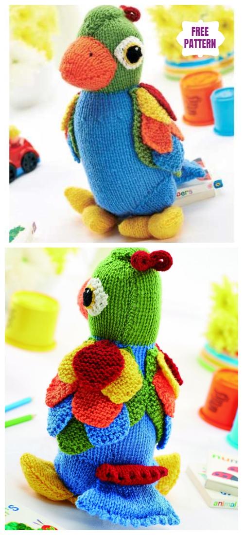 Knit Jason the Parrot Toy Free Knitting Pattern